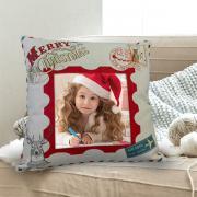 Egyedi fényképes karácsonyi párna - lenvászon bélyeg