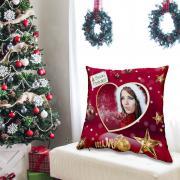 Egyedi fényképes karácsonyi párna - bordó színben