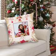 Egyedi fényképes karácsonyi párna - piros színben