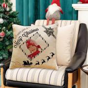 Egyedi fényképes karácsonyi párna - lenvászon rénszarvasos