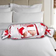 Karácsonyi, henger alakú egyedi fényképes párna