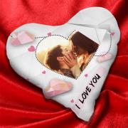Valentin napi egyedi fényképes szív alakú párna - fehér színben