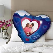 Valentin napi egyedi fényképes szív alakú párna - kék színben